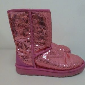 UGG RASPBERRY PINK SPARKLE BOOTS SEQUINS size 7